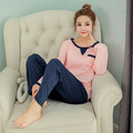 Cotton womens pajama sets Autumn and winter Long Sleeve femme pijamas mujer homewear M L XL XXL home suit Plus Size pyjama