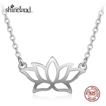 Shineland 2017 Fashion 925 Sterling Silver Lotus Pendants&Necklaces For Women Elegant Flower Jewelry Party Gifts Collar de Plata