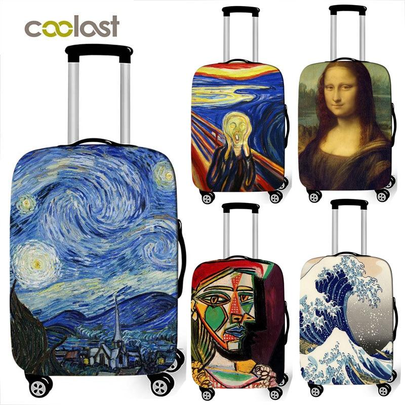 Van Gogh pintura a óleo de arte/Janpan/onda Mona Lisa capa protetora bagagem mala elástica capa anti-poeira trolley case capa