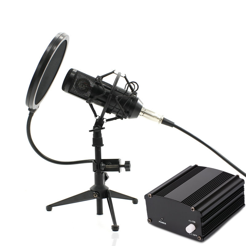 Grinding process Full Set Metal Condenser microphone BM-800 bm 800 48V Phantom power sound card Studio mic computer Microphone heat live broadcast sound card professional bm 700 condenser mic with webcam package karaoke microphone