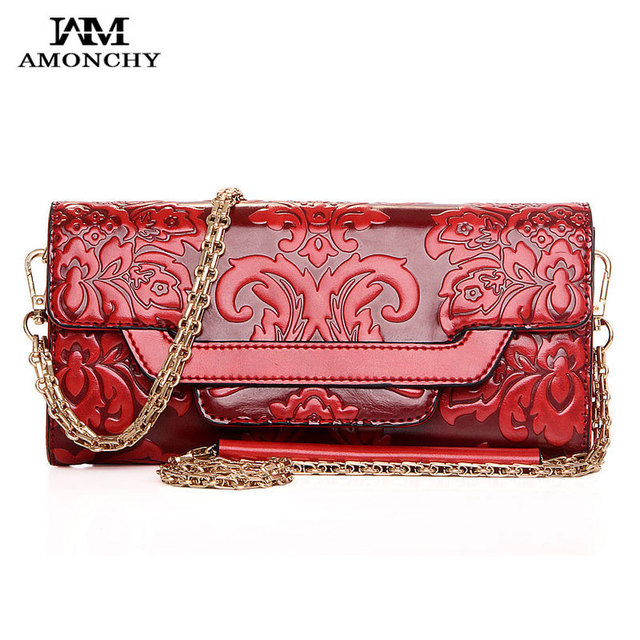 2016 Fashion Leather Women Clutches Chain Female Shoulder Bags Vintage Women Messenger Bags Embossed Lady Party Evening Bag S38