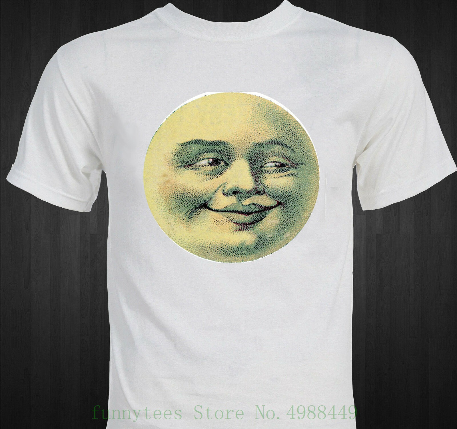 Man In The Moon Funny Victorian - Era Postcard T Shirt New Funny Cotton Short-sleeve Tshirt(China)