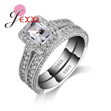 925 Sterling Silver Color Ring Sets With Full White High Quality CZ Crystal For Women/Girls Charm Jewelry With 2 PCS Wholesale(China)