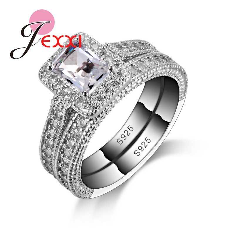 925 conjuntos de anel de prata esterlina com branco completo de alta qualidade cz cristal para mulheres/meninas charme jóias com 2 pçs por atacado