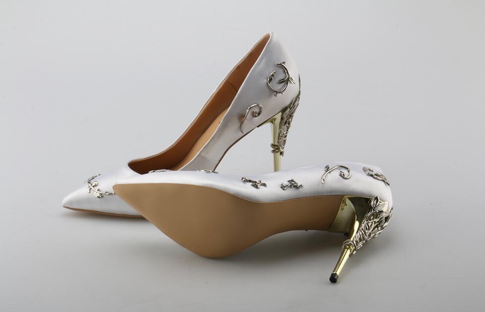 Bout Robe Mariage Piste Taille De Feuilles Stylet Parti Talon Picture Embelli 10 Satin As Femmes Métal Picture Pointu Chaussures Haute Mince Partie as Pompes w6aCqX8Cx