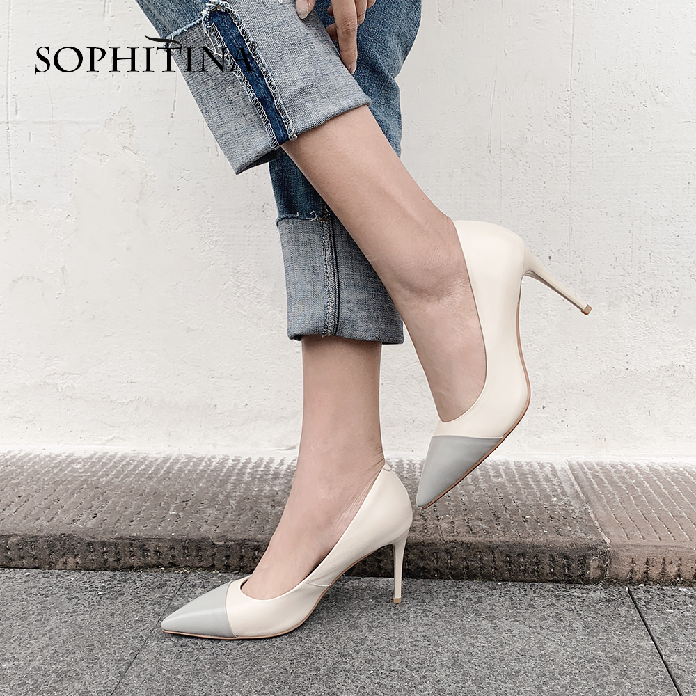 SOPHITINA Sexy Super High Thin Heels Pumps Large Size High Quality Cow Leather Pointed Toe Shoes