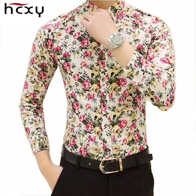 Hcxy 2017 جديد أزياء الربيع زهرة القمصان للرجال عارضة مصمم كبير الحجم الرجال قمصان الأزهار camisas masculinas الاجتماعية