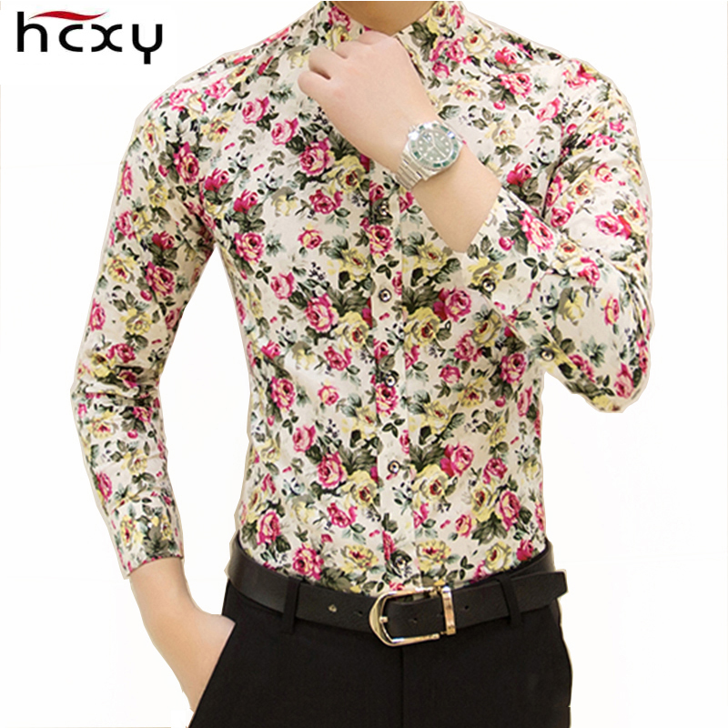HCXY 2017 new fashion spring flower shirts for men casual designer large size men floral shirts camisas masculinas social