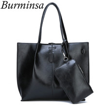 a9818679a Conjuntos 2 Burminsa Composto Preto Mulheres Bolsas de Grande Capacidade  bolsa de Ombro Fêmea Sacos Do Mensageiro Grande Tote Sa.