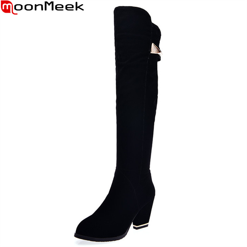 MoonMeek hot sale new arrive women boots fahsion black flock zipper over the knee boots round toe lady boots big size 34-43 цена и фото