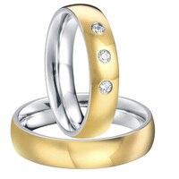 Пользовательские Свадебная пара titanium стали обручальное Обручальные кольца наборы для обувь для мужчин и женщин новинка 2015 цвет золотистый
