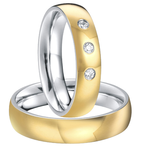 Custom Bridal Pair titanium steel wedding band engagement rings sets for men and women 2015 new gold color alliances anel