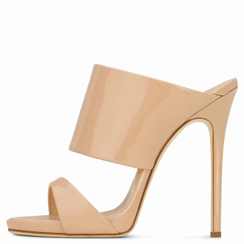 72aee4749 ... Women High Heel Sandals 2018 Metallic Rose Gold Patent Leather Mule  Nude Heels Blush Summer Shoes ...