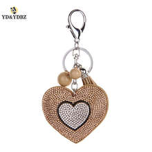YD&YDBZ Fashion Rose Gold Pendant Keychain Pink Heart Jewelry Lady Bag Small Pendants Car Key Ring High Quality