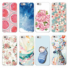 Fresh Fashion Cute Cat Deer Fish Bra Watermelon Floral Painting Soft Phone Case For iPhone 7 7Plus 6 6S 6Plus 5 5S SE 5C SAMSUNG