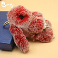 Double Color Cute Animal Fluffy Bunny Keychain 8 color 14-15 cm Real Plush Rabbit Fur Key Chain Women Doll Bag Charms Gift ed