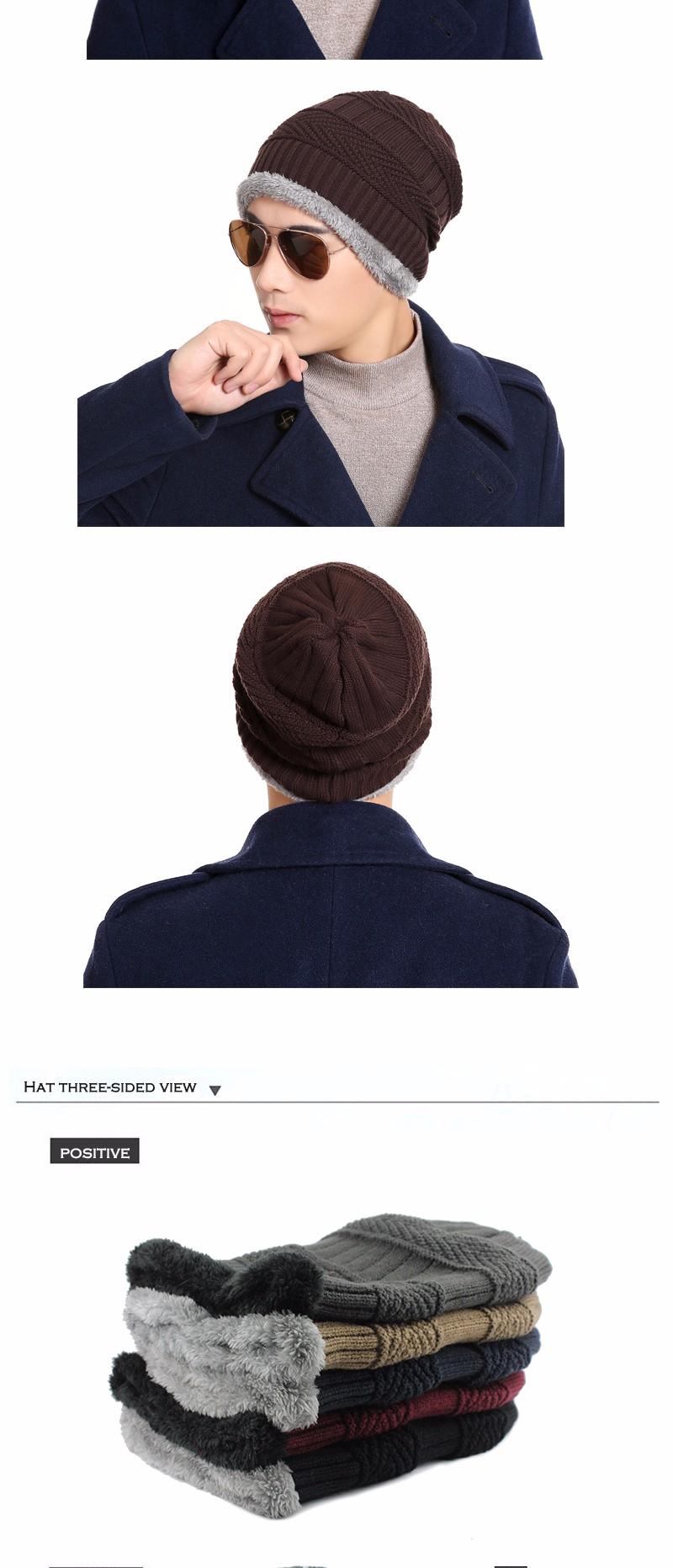 FETSBUY Pure Color Winter Skullies Beanies Hat Knit Winter Hat For Man Warm Hat Velvet Cap Bonnet Toucas Inverno Knitted Hats 19