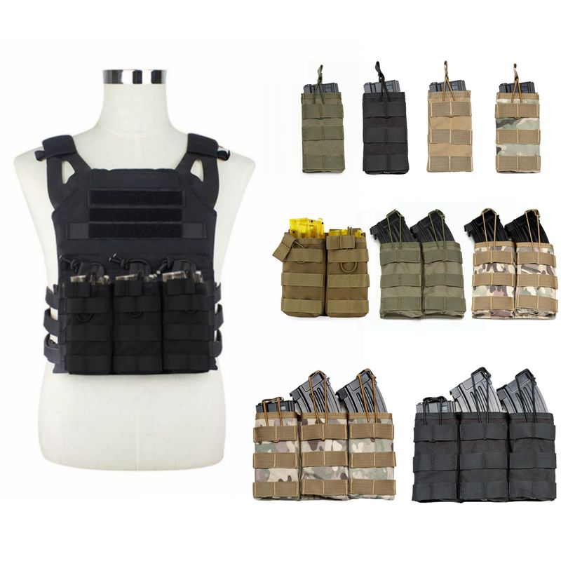 M4 AK AR Tactical MOLLE Nylon Double / Triple Magazine Pouch Tactical Vest Rifle Pistol Mag Pouch Airsoft Hunting Accessories image