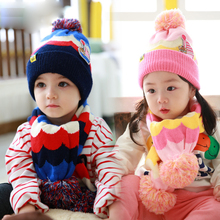 Winter Baby Hat Boys Girls Cartoon Baby Knit Earflap Hat Newborn Striped Woolen Hats Warm Beanies Caps Scarf Twinset E1032