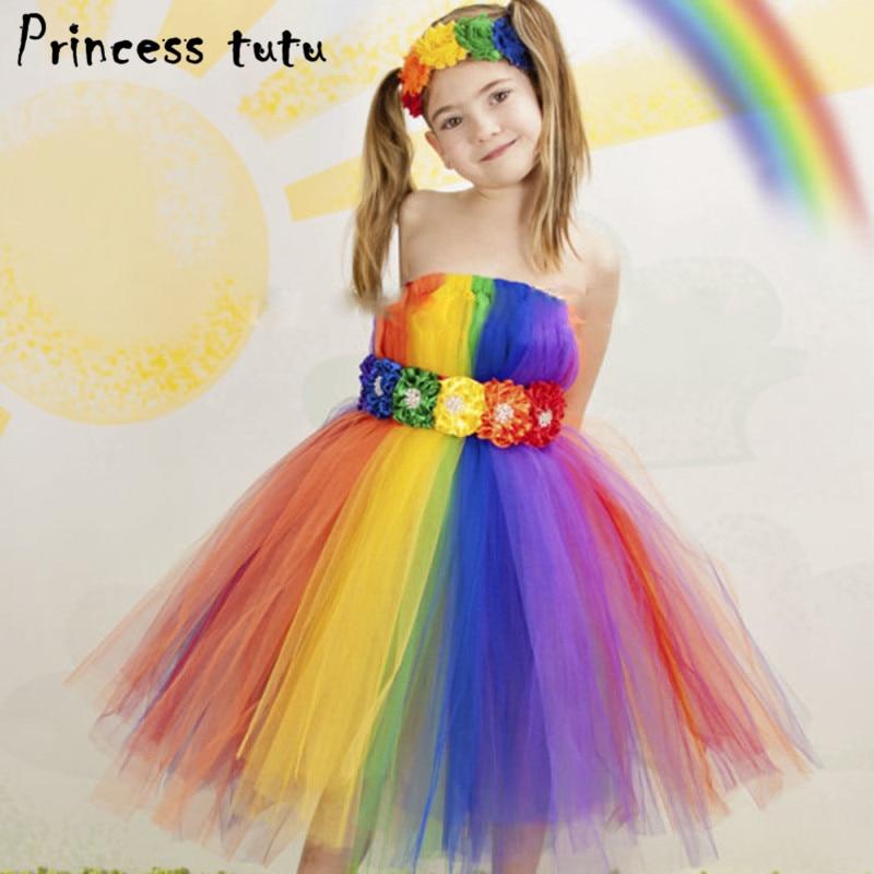 Princess Tutu Kids Baby Girls Rainbow Dress Festival
