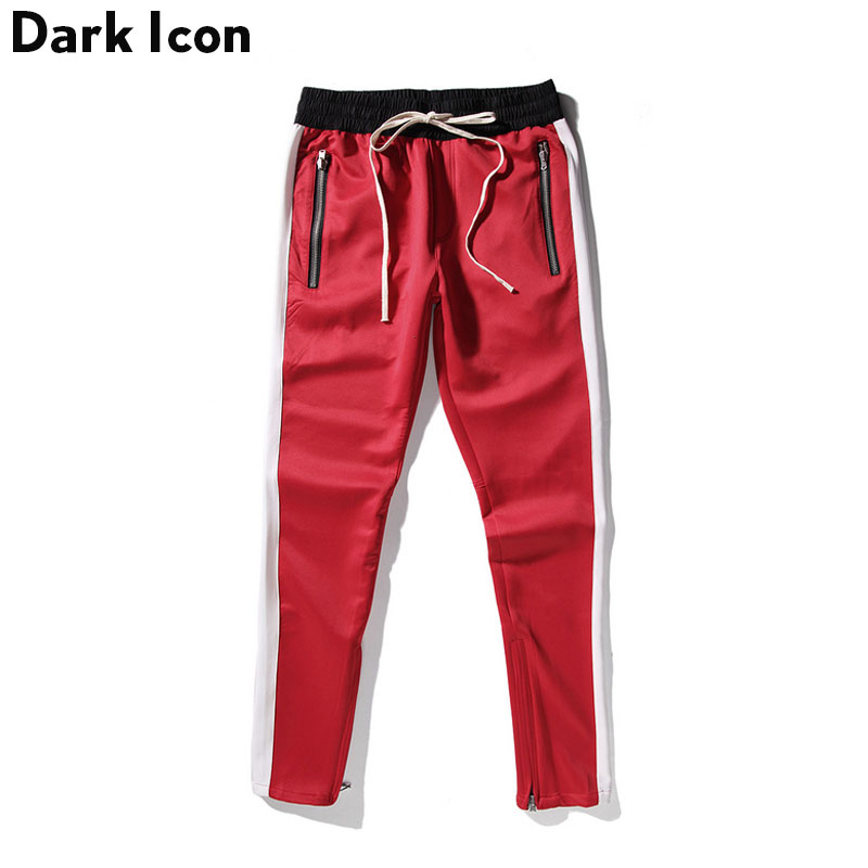 Side Patchwork Side Zipper Streetwear Track Pants Men 2018 Spring Kanye West Pants Men's Skinny Trousers Red Blue Black 5 Colors