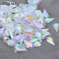 JUNAO 5*8mm 8*13mm Opal AB Drop Rhinestones Flat Back Acrylic Gems Nail Art Stones Non Hotfix Strass Non Sewing Beads for Crafts