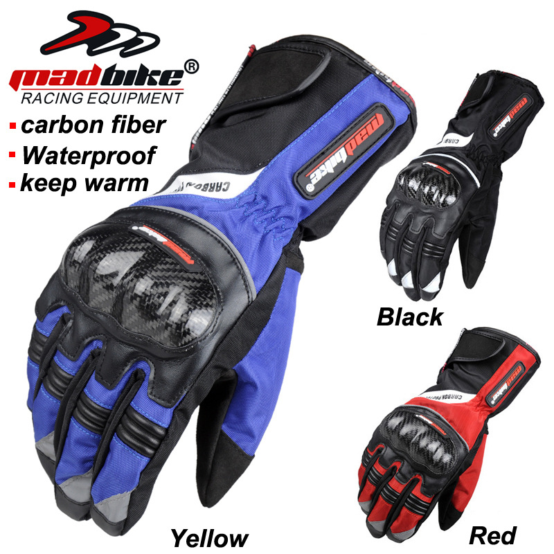 MAD-BIKE motorcycle winter warm waterproof cold fall proof gloves carbon fiber protection Cycling Gloves Bike Glove