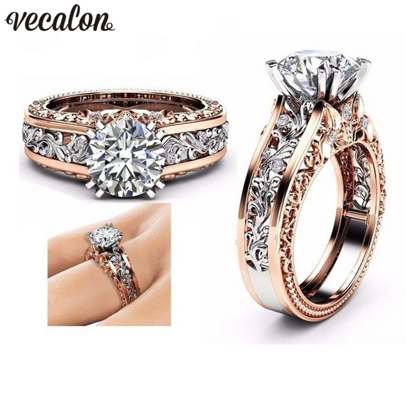 Vecalon 6 Colors Round Cz Engagement Wedings band Rings for Women Enamel BirthStone Ring Rose Gold Filled Jewelry Dropshipping ...