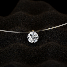 Silver color Zircon Necklace For Women And Invisible Transparent Fishing Line Simple Pendant