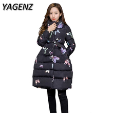 YAGENZ Winter Jackets 2017 Fashion Women Slim Parkas Down Cotton Long Outerwear Warm Thick Belt Winter Coat Ladies Clothing 2XL