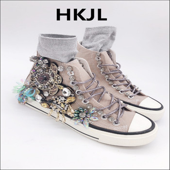 HKJL handmade original heavy industry Thailand tide goods rhinestones increased casual shoes canvas shoes tide shoes
