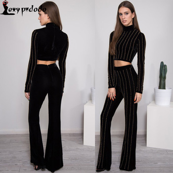Two Piece Outfits Pants Set Rompers Womens Jumpsuit Long Pants 2PC Set O-neck Crop Tops Bodycon Palysuit Wholesale Sexy Jumpsuit