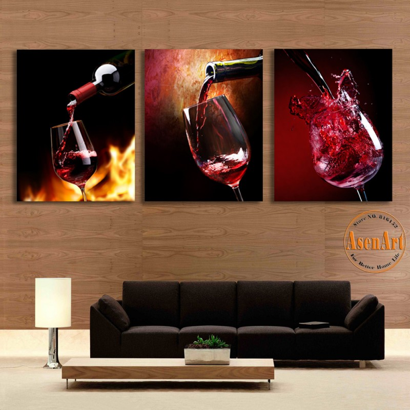 3 Piece Art Sets Glass Red Wine Painting Picture Print On Canvas Wall Modern Home Decor Living Room Dining Unframed