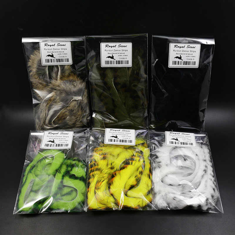 6 Colors Double Color Rabbit Zonker Strips Straight Cut Bass Fly Tying Material