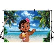Cartoon Girls Baby Moana Birthday Background Photo Backdrops Waialiki Maui Party Event Banner for Studio