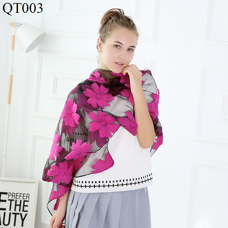 F&U Organza Embroidered Flowers Long Soft & Light   Scarf     Wrap   Luxury Shawl Fashion For Women In Winter 7 Colors For Choice