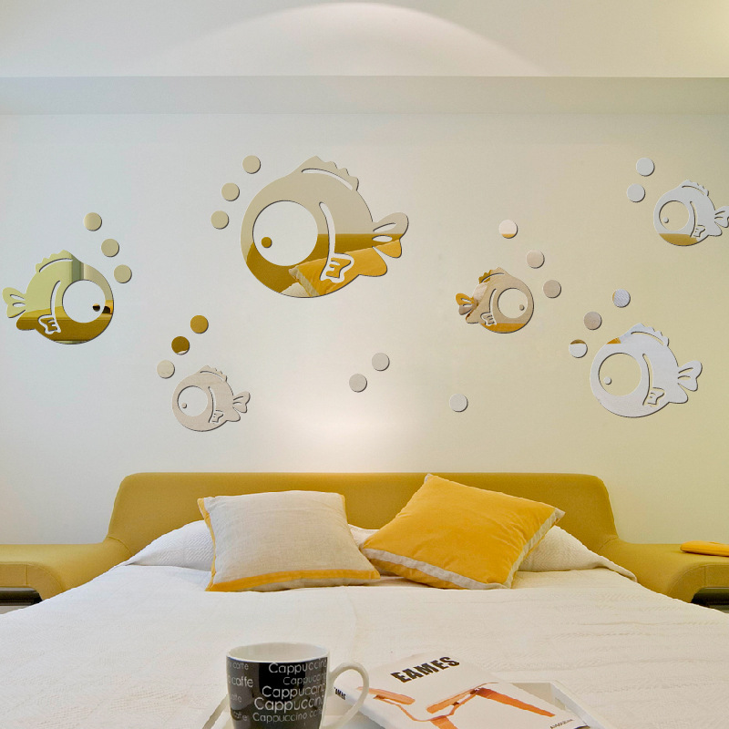 Small Bubble Fish Acrylic Mirror Wall Stickers,A Total Of 11 Small Fish And 33 Bubbles For Decorating Children's Bedroom