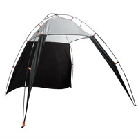 Portable Outdoor Beach Canopy Sun Shade Triangle Tent Shelter for Camping Fishing (Black and Grey)