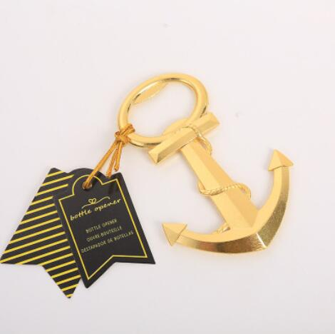Free Shipping 20pcs lot Wedding Favors GOLD NAUTICAL ANCHOR BOTTLE OPENER Party favors