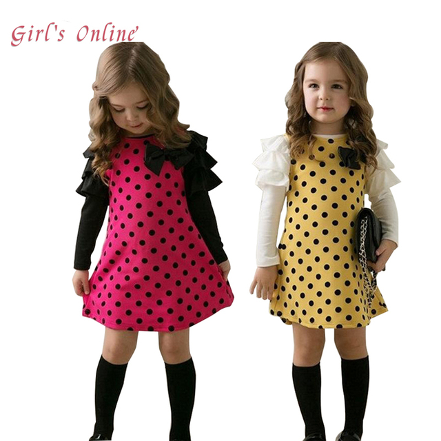a485ff4881e5c Girls Dress Long Sleeve Bow Children Clothing 2018 Spring New Cotton Kids  Dresses for Girls Baby