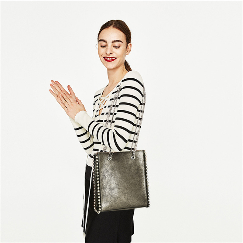 Rivet Shopping Metallic Bag Shoulder Messenger Bag Joker Chain Bag Medium Tote Bag цена