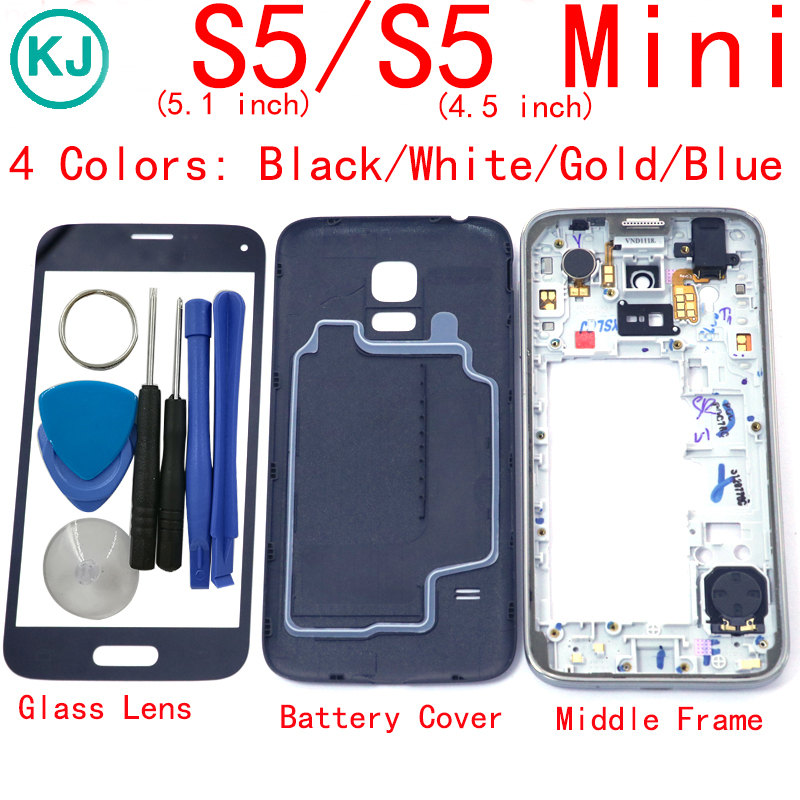 S5mini S5 Back Battery Cover Middle Frame Front Touch Glass Lens for Samsung Galaxy S5 i9600 G900 / S5 mini G800 Full Housing