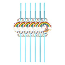 Unicorn party decoration straws birthday party decorations easter baby shower girl easter wedding Activity goods Party supplies 10pcs emoji disposable tableware gift bag happy birthday party decorations supplies easter baby shower wedding activity goods