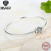 BISAER Authentic 925 Sterling Silver Engrave Snowflake Clasp Unique as you are Snake Chain Bracelet & Bangle DIY Jewelry HJS915