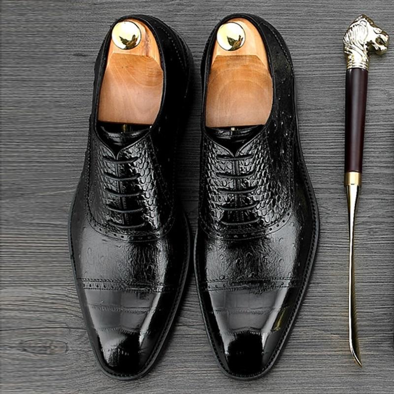 Hommes Noir Richelieus Mariage Motif Parti Bout De Autruche Cuir Véritable À Homme Carré Luxe Chaussures Formelle Lacets chocolat Robe Ne64 Bal Z6pHqw06