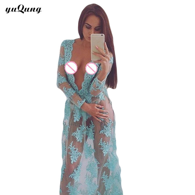 eb893f1dad yuqung Women long sleeve Beach kimono dress robe see through clothing cape  bikini long swimsuit maxi