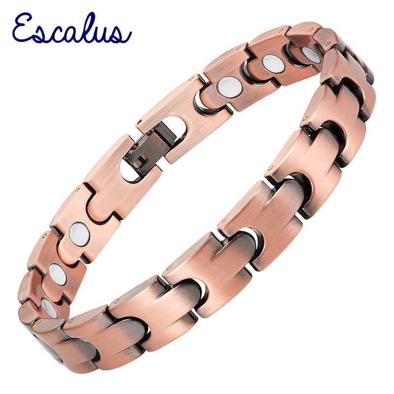 Escalu Unisex 16pcs Magnets Antique Copper Magnetic Bracelet Health Gift Healing Bangle Jewelry Wristband Charm
