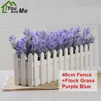 1 Set 40cm Artificial Plant With Wooden Fence Flocking Chrysanthemum Grass Bonsai Potted Home Garden Wedding