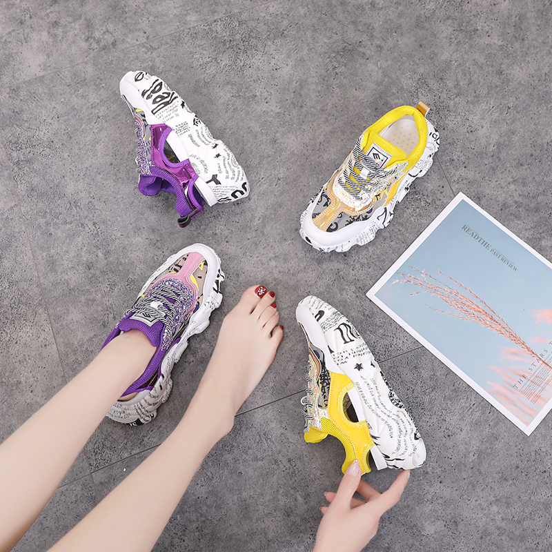 Women Sneakers New Fashion Female Shoes Woman Chunky Sneakers Women Mesh Yellow Ladies Wedge Sneakers chaussures femme A1-13 30