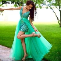 Removable Skirt Green Prom Dresses for Pageant Women 2018 Vestido De Festa Sexy V Neck Crystal Tulle Runway Fashion Party Gowns